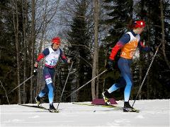 Russian skiers celebrate gold and silver in 15 km cross-country