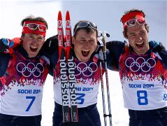 Gold finish for the Russian skiers in the mass start