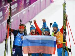 Sochi 2014 Day 16 - Biathlon Men's 4 x 7.5 km Relay